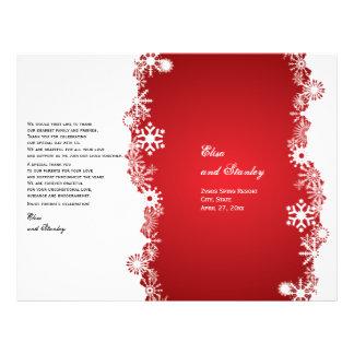 Snowflake red white wedding folded program flyer