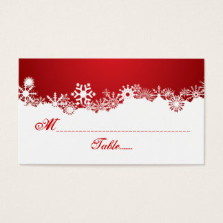 Snowflake red white winter place card
