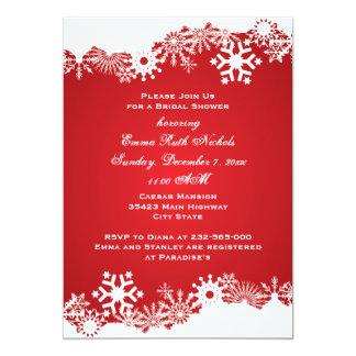 Snowflake red white winter wedding bridal shower card
