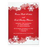 Snowflake red white winter wedding invitation announcement