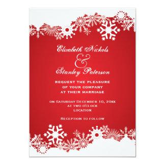 Snowflake red white winter wedding invitation
