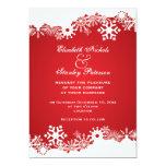 Snowflake red white winter wedding invitation card