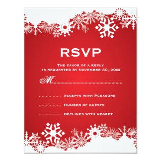Snowflake red white winter wedding RSVP Card