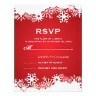 Snowflake red white winter wedding RSVP Custom Invite