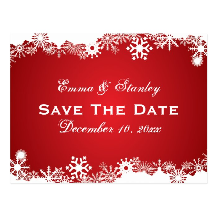 Snowflake red white winter wedding Save the Date Postcard