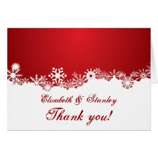 Snowflake red white winter wedding Thank You Card