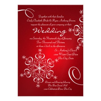 Snowflake Red Winter Wedding Invitation