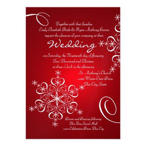 Snowflake Red Winter Wedding 5x7 Paper Invitation Card