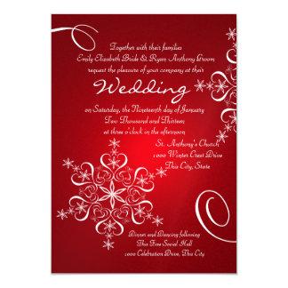 Snowflake Red Winter Wedding Invitation