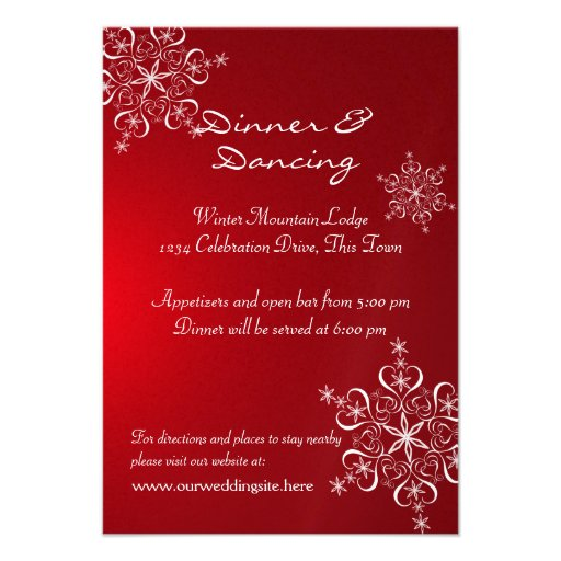 Snowflake Red Winter Wedding Reception Custom Invite