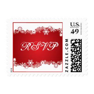Snowflake red winter wedding RSVP stamp