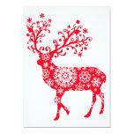 "Snowflake Reindeer - Red 5"" X 7"" Invitation Card"