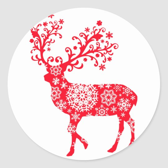 Snowflake Reindeer - Red Classic Round Sticker