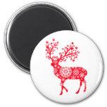 Snowflake Reindeer - Red Fridge Magnet