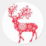 Snowflake Reindeer - Red Stickers