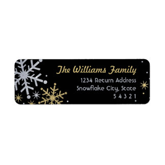 Snowflake Return Address Labels | Silver and Gold