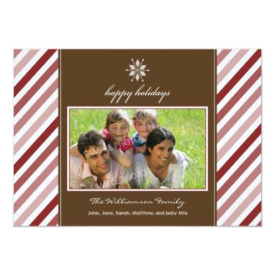 Snowflake Ribbon Custom Family Holiday Card (red)