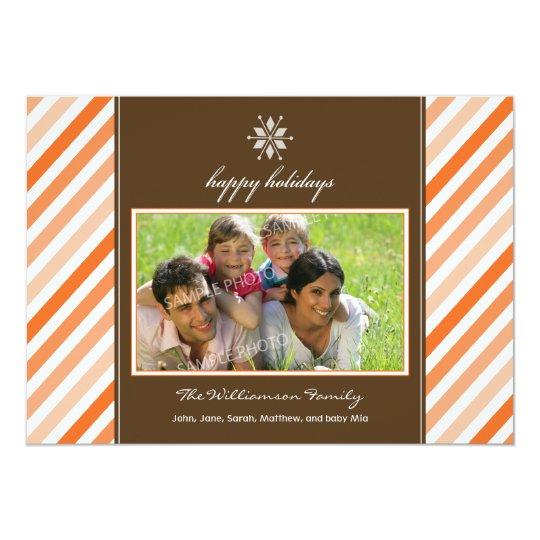 Snowflake Ribbon Family Holiday Card (orange)