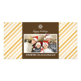 Snowflake Ribbon Family Holiday Photocard (gold) Card