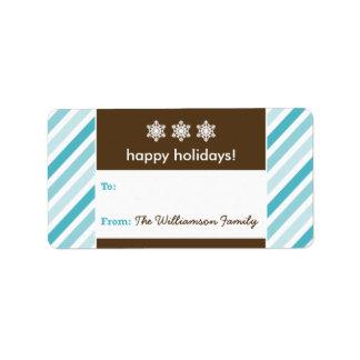 Snowflake Ribbon Holiday Gift Tag (aqua) Custom Address Label