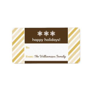Snowflake Ribbon Holiday Gift Tag (gold) Address Label