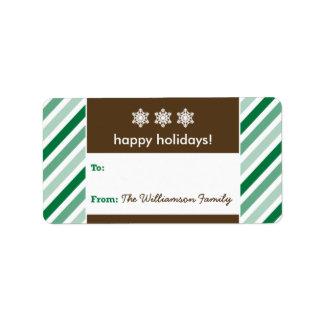 Snowflake Ribbon Holiday Gift Tag (green) Address Label
