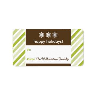 Snowflake Ribbon Holiday Gift Tag (lime) Address Label