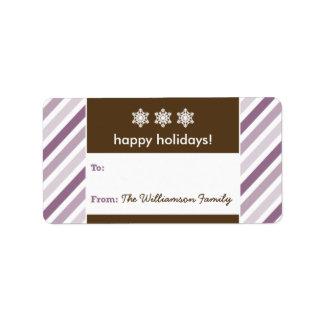 Snowflake Ribbon Holiday Gift Tag (purple) Custom Address Labels