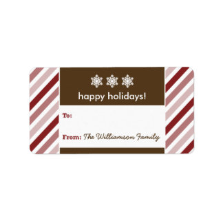 Snowflake Ribbon Holiday Gift Tag (red) Personalized Address Label