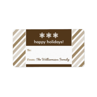 Snowflake Ribbon Holiday Gift Tag (taupe) Personalized Address Labels
