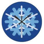 Snowflake Round Clock - Blue