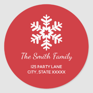 Snowflake Round Holiday Return Address Label