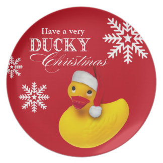 Snowflake Rubber Ducky Santa Christmas Party Melamine Plate
