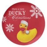 Snowflake Rubber Ducky Santa Christmas Party Plates