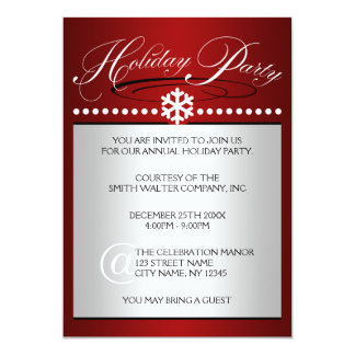 "Snowflake Ruby Red Office Holiday Party Invitation 5"" X 7"" Invitation Card"