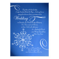 Snowflake Sapphire Blue Winter Wedding Personalized Announcement