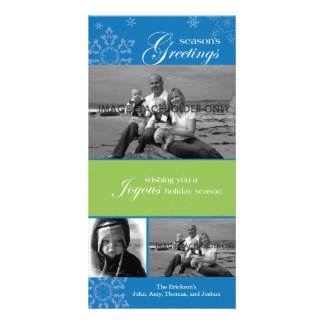 Snowflake Season's Greetings Blue Photo Card
