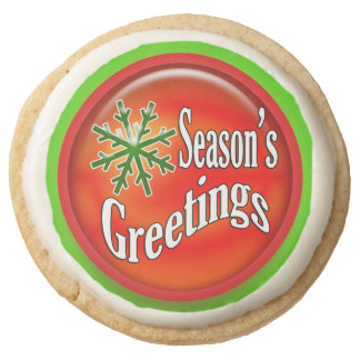 Snowflake Season's greetings holidays Round Shortbread Cookie