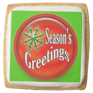 Snowflake Season's greetings holidays square Square Shortbread Cookie