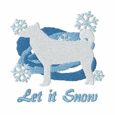 Snowflake Shiba Inu Embroidered Long Sleeve Shirt