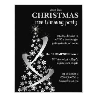 Snowflake & Silver Ribbon Christmas Tree Invite