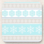 Snowflake Ski Sweater Powder Blue and Beige Drink Coaster
