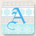 Snowflake Ski Sweater Powder Blue and Beige Coaster