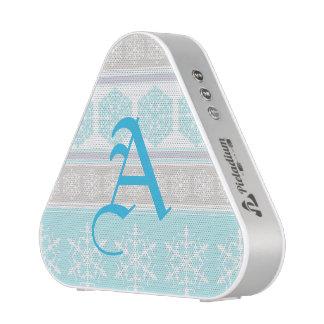 Snowflake Ski Sweater Powder Blue and Beige Bluetooth Speaker