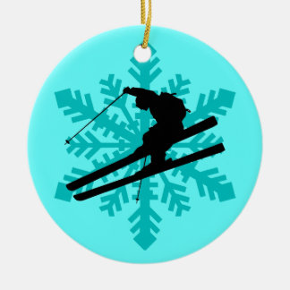 snowflake skier Double-Sided ceramic round christmas ornament