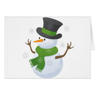 Snowflake Snow Winter Snowy Blizzard Snowman Card
