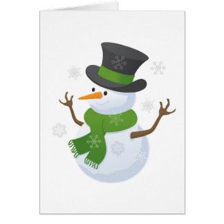 Snowflake Snow Winter Snowy Blizzard Snowman Greeting Card