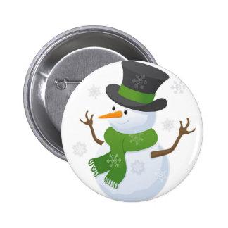 Snowflake Snow Winter Snowy Blizzard Snowman Pinback Button