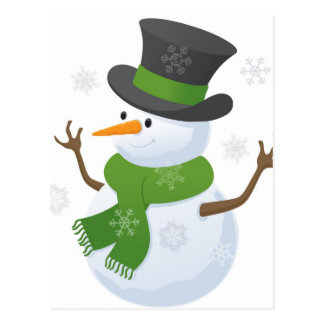 Snowflake Snow Winter Snowy Blizzard Snowman Postcard