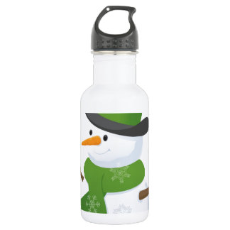 Snowflake Snow Winter Snowy Blizzard Snowman Stainless Steel Water Bottle